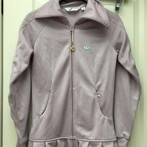 EUC adidas lilac track jacket with ruffle hem